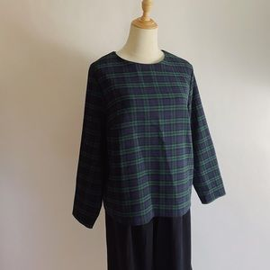 UNIQLO Black Watch Plaid Boatneck 3/4 Sleeve Top